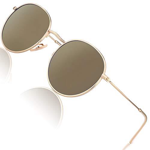 CGID Kleine Retro Vintage Sonnenbrille, inspiriert von John Lennon, polarisiert mit rundem Metallrahmen, für Frauen und Männer Verspiegelt Gold Braun E47