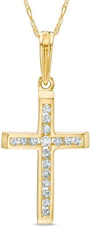 Royal Jewelz 1/10ct Diamond Cross Necklace Pendant in 10K Yellow or White Gold. Includes a Complimentary 18 inch Chain