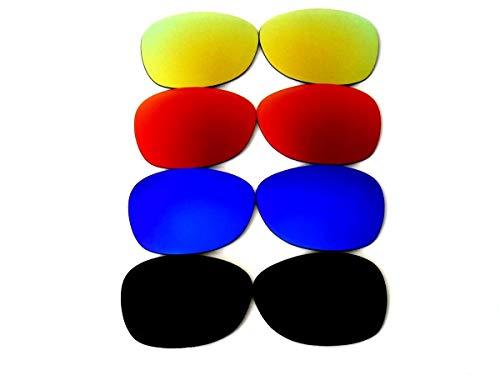 GALAXYLENSE Lentes de reemplazo para gafas de sol de Ray-Ban RB2132 Wayfarer para hombre o mujer 55x1.5x38 Regular Negro y Azul y Rojo y del oro