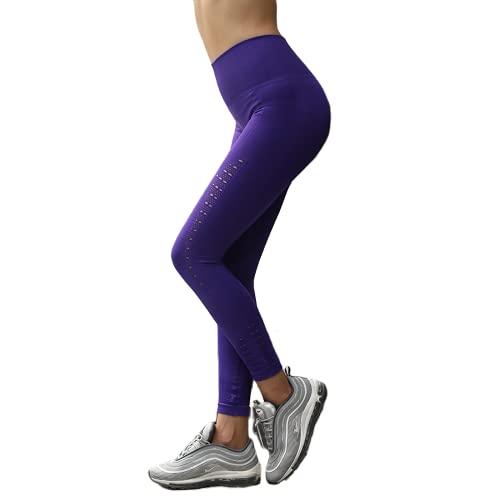 QTJY Pantalones de Yoga Deportivos Estiramiento Pantalones de Fitness de Secado rápido sin Costuras Gimnasio de Correr Cintura Alta Cadera Pantalones para Correr al Aire Libre E S