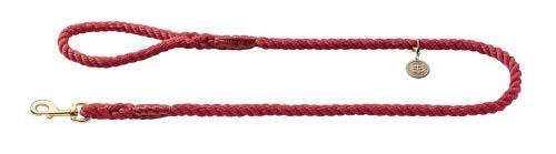 HUNTER LIST Führleine für Hunde, Messingbeschläge, Handschlaufe, maritim, 1,2 x 140 cm, bordeaux