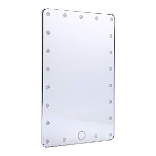 BLLBOO USB-Desktop-Make-up-Spiegel 21pcs LED Touch Screen kosmetischer Lampen-Spiegel + Spiegel-Abdeckung Silber