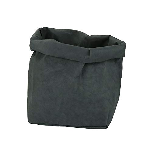 BIOZOYG papyrMAXX Washable Storage Bag size XL Sustainable All-purpose Storage Basket made of washable paper 0.55cm thick I Hamper Bag for Bathroom Baby Toy Bag I Gift Bag Planter Bags anthracite