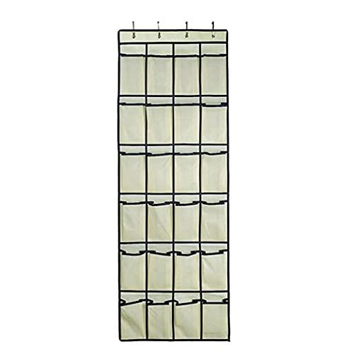 Titular de la zapata colgando organizador a través de la puerta de montaje en pared 24 de malla bolsillos de almacenamiento de la suspensión de las misceláneas bolsa de la casa para guardar Beige
