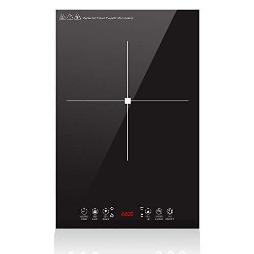 TSTYS Placa de inducción, Solo Horno Cocina de inducción Vertical, embebido Cocina de inducción 2200W de Alta Potencia del Panel microcristalina Negro,Black