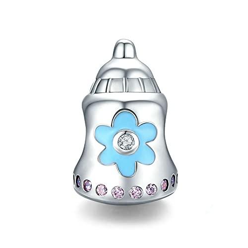 LIJIAN DIY 925 Sterling Jewelry Charm Beads Baby Cute Enamel Baby's Bottle Hacer Originales Pandora Collares Pulseras Y Tobilleras Regalos para Mujeres