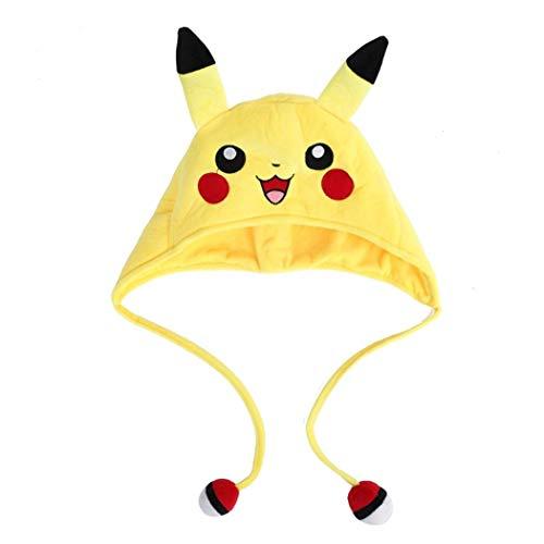 EONFUN Sun Moon Mimikyu Plush Cartoon Sonic Gengar Hat Soft Best Gifts for Kids (Pikchu Open Mouth)