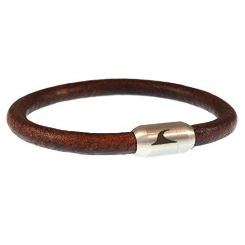 WAVEPIRATE® Echt Leder-Armband Sylt R Braun/Silber 21 cm Edelstahl-Verschluss in Geschenk-Box Männer Damen Herren