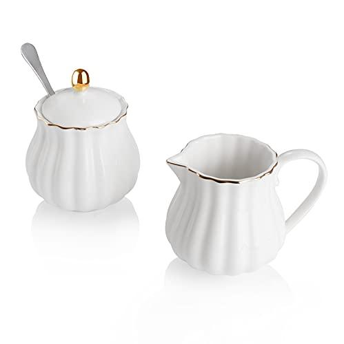Amazingware Royal Porcelain Creamer and Sugar Set, 3 Piece Set with Cream Pitcher, Sugar Bowl, Sugar Set with Lid & Spoon, Coffee Serving Set Wedding Gift - White