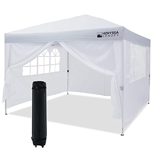 HZHYSEA 10 x10  Pop-up Canopy Tent Commercial Instant Canopy with Wheeled Bag and Sidewalls & Mesh Windows (White)