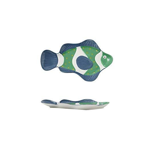 Dibujos animados nórdicos Ocean World Platos Peces domésticos en forma de acuarela-1