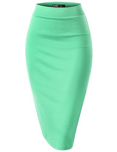 TWINTH Women's Slim Fit Bodycon Midi Ponte Pencil Skirts Cyan S