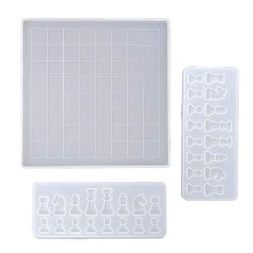 zrshygs Tablero de ajedrez Molde de Resina de Silicona 2 Piezas Molde de Silicona de ajedrez para artesanía de fundición de Resina