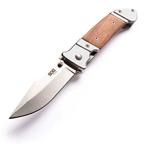 SOG Fielder Wood Folding Knife Blade with Wood Knife Handle and Clip
