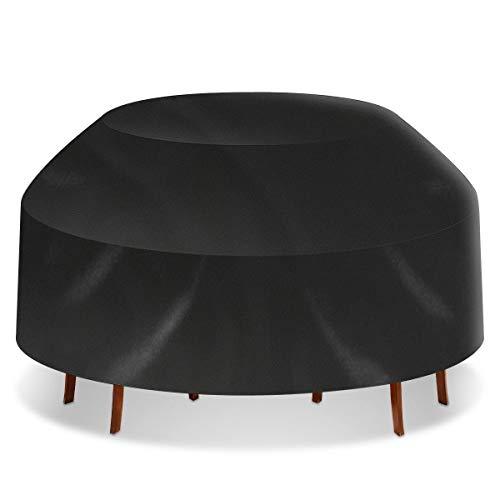 MOBFIDOFG Muebles de Sistemas Mesa de Picnic Impermeable Negro Cubierta de la Silla al Aire Libre Inicio Patio Ronda Muebles elástico del Polvo Anti Mantel (Color : 6 Seater)