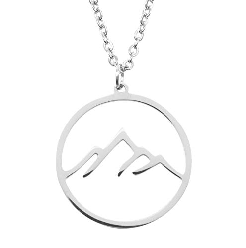 Happiness Boutique Damen Berg Kette in Silberfarbe | Filigrane Kette Mountain Gebirge Anhänger Edelstahlschmuck