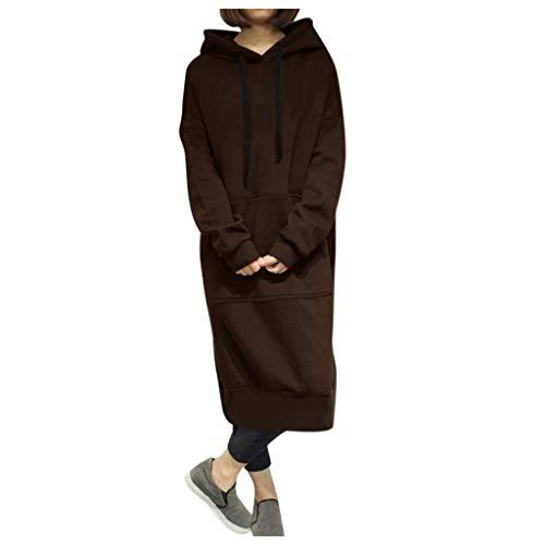 No Brand® warm lang T-shirt voor vrouwen in de herfst met veer met capuchon, losse truien, oversized, lange jurk