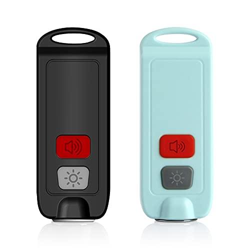防犯ブザー USB充電式 懐中電灯 130dB 大音量 防水 LEDライト付き ランドセルに付ける 防犯グッズ (ブラック+ブルー)
