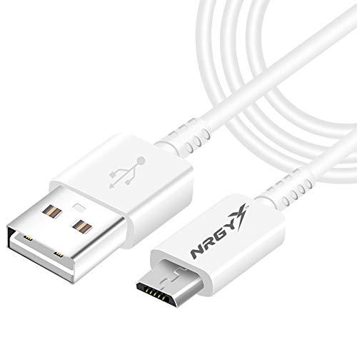 NRGY - Cable USB a Micro USB Duradero Carga Rápida y Sincronización Compatible con Android, Samsung Galaxy S7 S6 J5 J7,Xiaomi, Huawei, Sony, Nexus etc (1m, Blanco)