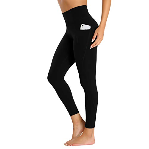 LOVE FANG Women High Waist Tight Yoga Pants Workout Leggings with Pockets Naked Feeding Compression Tights for Ladies Girls Gym Exercise Sports Dancing (BK M) Black