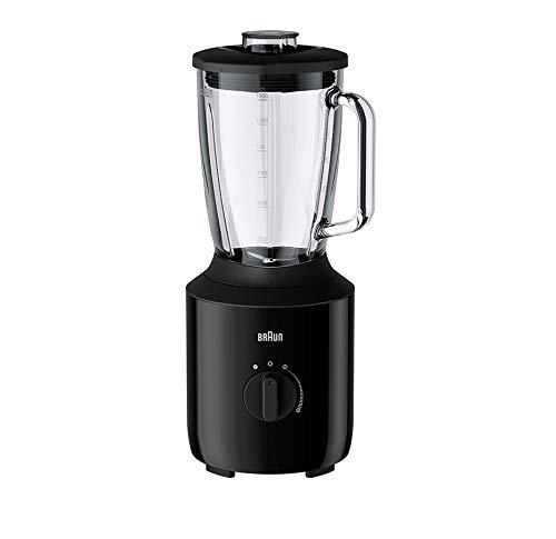 Braun JB3150BK - Batidora de vaso 800 W (capacidad 1.5 L, vaso de cristal resistente al calro, velocidad variable y pulse, cuchicas de acero inox, Dual Safety System), negro