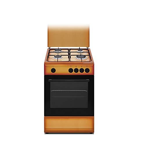 Nikkei SN554BG - Cucina a gas 4 fuochi con forno a gas 50x50 cm colore Terra di Francia