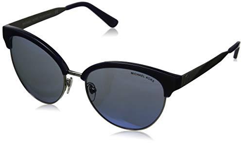 Michael Kors Damen Amalfi 330855 56 Sonnenbrille, Silber (Navy/Silver/Navy Mirror)