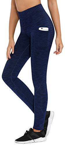LifeSky Pantalones de yoga para mujer, talle alto control de barriga, leggings de entrenamiento con bolsillos, estiramiento en 4 direcciones, XL, 9856 Space Dye Azul Oscuro