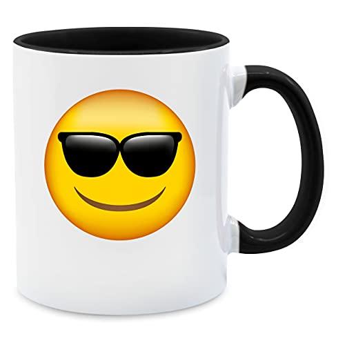 Shirtracer Statement Tasse - Emoticon Sonnenbrille - Unisize - Schwarz - große Tasse - Q9061 - Tasse für Kaffee oder Tee