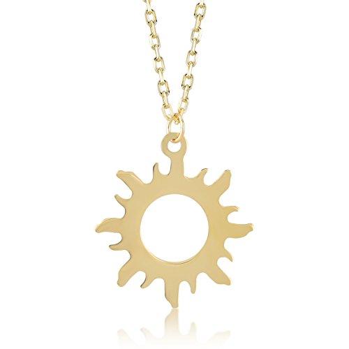Damen Halskette 14 Karat / 585 Gelbgold ausgehülllter Sonnenschein als Anhänger | 14k Gold Sunshine Necklace | Kettenlänge 45cm