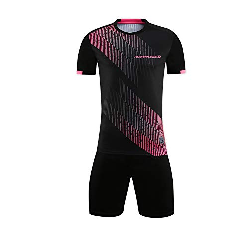 PAIRFORMANCE Set of Soccer Sleeve T Shirt Jersey and Shorts for Boys and Girls Sport Team Uniform & Training Indoor/Outdoor. 2 Pieces Clothing Age 4-12. Black, M. | #S6-BM