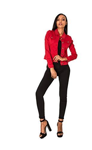 Crazy Age Damen Jeansjacke Blazer Übergangsjacke Sommer Jacke (XL~40, ROT)