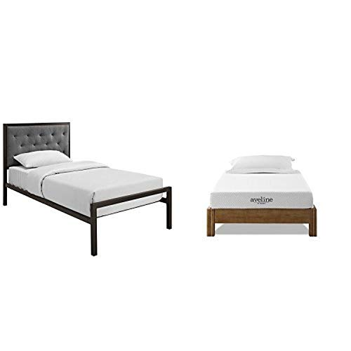"""Modway Mia Fabric Bed Frame, Twin, Brown Gray with Modway Aveline 6"""" Gel Infused Memory Foam Twin Mattress With CertiPUR-US Certified Foam"""