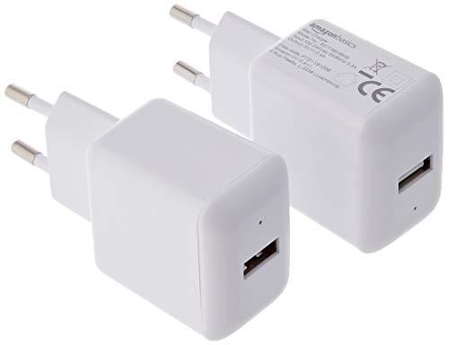 AmazonBasics – Cargador USB de pared de un puerto (2,4amperios), Blanco, Pack de 2uds