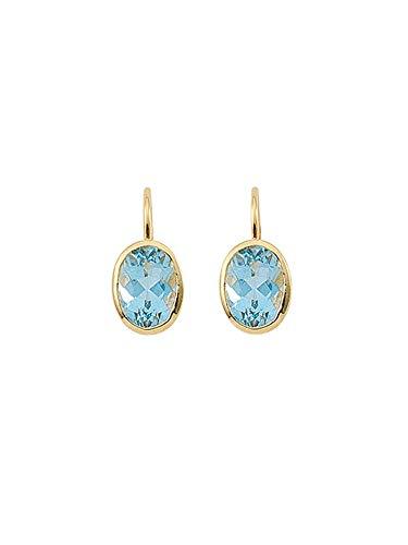 1 Paar Gold Ohrringe Boutons Ohrhänger 14 k 585 Gelbgold mit Aquamarin