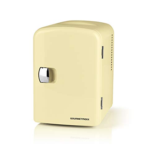 GOURMETmaxx Mini-Kühlschrank Retro | Bar Kühlschrank für Getränke und Snacks | Zum Kühlhalten von Alkohol, Essen oder Erfrischungsgetränken (Vanille)