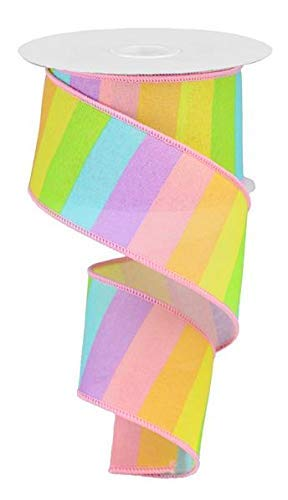Rainbow Horizontal Stripe Canvas Wired Edge Ribbon - 10 Yards (Pastel...