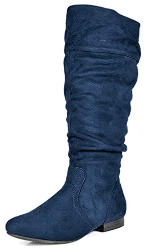 DREAM PAIRS Women's BLVD Dark Blue Knee High Pull On Fall Weather Boots Wide Calf Size 7 M US
