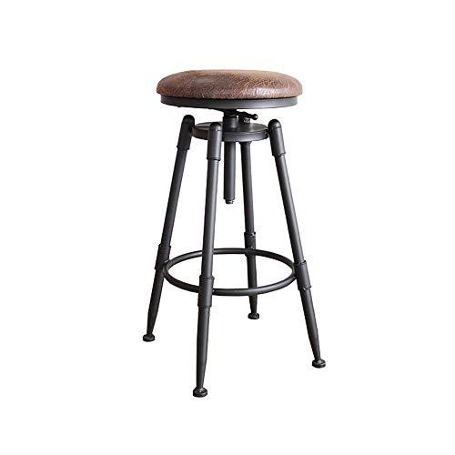 Barstools-BYTGK IJzeren barkruk in hoogte verstelbaar metaal industriële barkrukken met voetsteunen en houten kussens ontbijt eetzaal huisstoelen teller keuken salon J1120