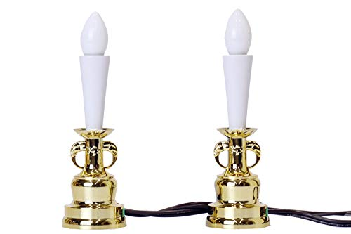 電気ローソク 1対 ■ 土台 金色 ■ 電装式 蝋燭灯 ■ 高さ17cm ■ 神棚用神具 仏壇用仏具 どちらでも使用可能
