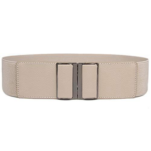 Correas de las mujeres Nuevo Diseño cinturilla elástica de la correa ancha elástico Cummerbund CALIENTE rectángulo hebilla de cinturón de cintura vestido Fajas beige color