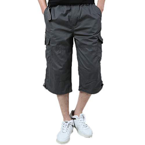 WSLCN Homme Eté Rétro Baggy Cargo Camo Shorts Bermudas Coton Outdoor Casual Combat Shorts Pantacourt Grande Taille Multi-Poches Gris foncé FR XXS (Asie S)