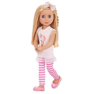 New! Posable dolls! Arms bend at elbows and rotate at shoulders. Legs bend at knees and rotate at hips. Glitter Girls Lacy has silky long blonde nylon hair with a twist that is fun to brush and style! Bright purple eyes with long eyelashes. Wears a l...