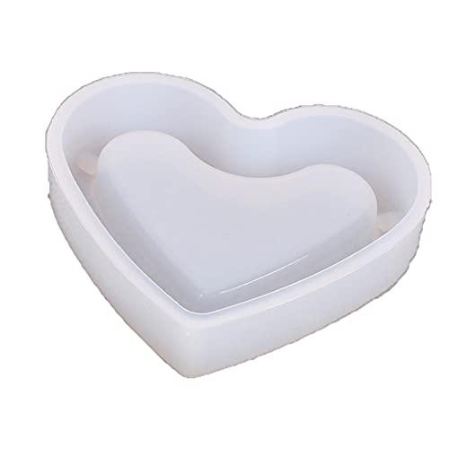 Molde de silicona en forma de corazón para cenicero DIY Crystal Epoxy UV Resina Moldes Suministros de arte