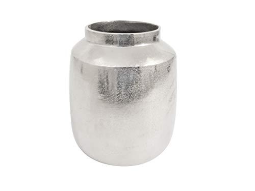 Deko Vase aus Aluminium in Raw-Optik Silber (21 x 13,5 x 26,5 cm)