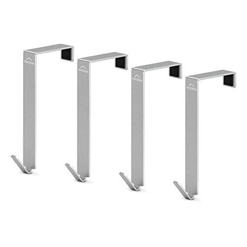 MDCASA Türhaken 4cm - für breite Türen - Edelstahl gebürstet - 4 Stück - Kleiderhaken Tür - Handtuchhalter zum Einhängen - Türkleiderhaken - Badezimmerhaken