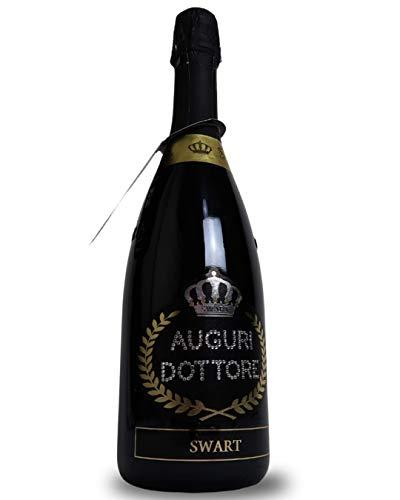 Bottiglia per Festa di Laurea PERSONALIZZABILE - Bottiglia regalo spumante italiano 0,75L con scritta Auguri Dottore in autentici cristalli e possibilità di personalizzare il nome (AUGURI DOTTORE)