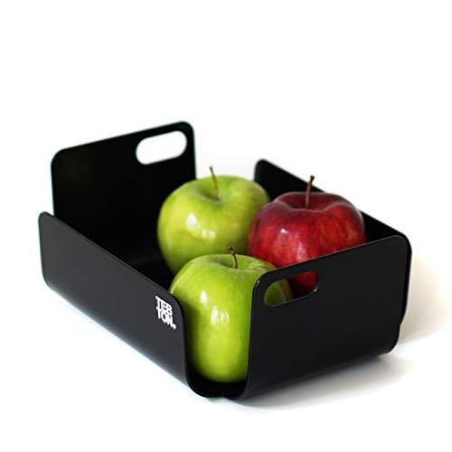 TEBTON® Made in Berlin | UNIBODY2 (Schwarz, Small) – Obst-Schale aus Metall, lebensmittelgerechte Deko-Schale mit Griff, 22 x 16 x 8 cm (LxBxH)