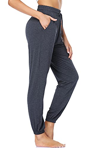 ROCHVIE Yoga Joggers Pants for Women with Pockets High Waist Casual Lounge Pants Drawstring Comfy Workout Sweatpants Dark Grey L