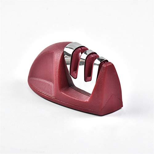 Cuchillo de cocina del hogar afilador multifuncional de tungsteno de cocina de acero rápido piedra de afilar afilado de herramientas de ángulo fijo (Color : Red)
